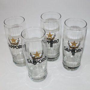 Sapporo Beer Glasses Set of 4 Japanese